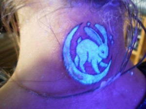 Blacklight Rabbit On Moon Tattoo