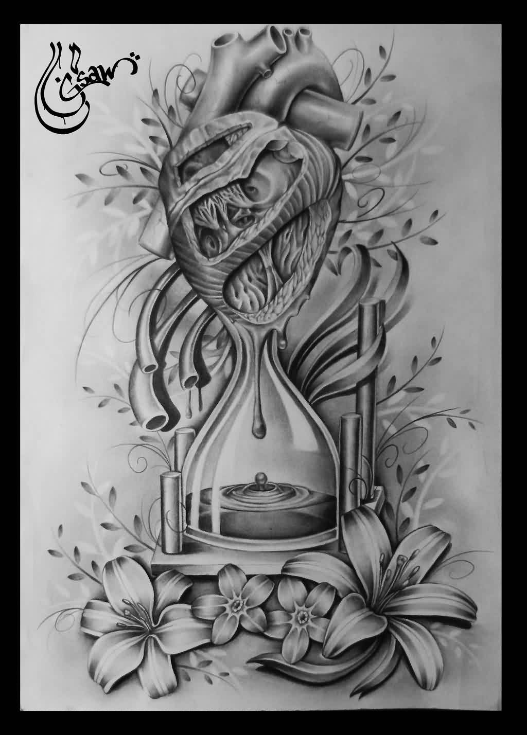 Bleeding Heart Sandclock Tattoo Design