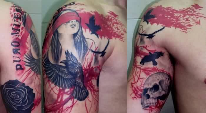 Blind Girl And Crow Tattoos On Shoulder