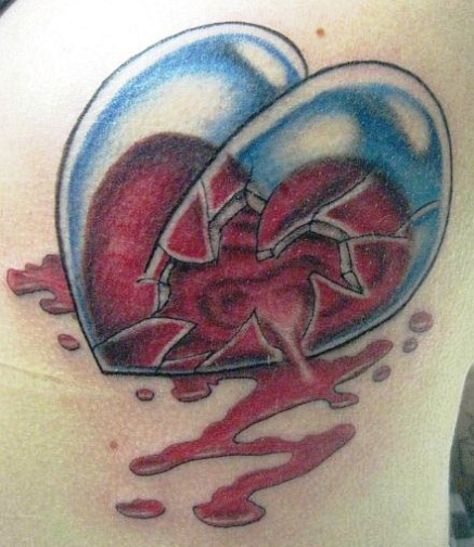 Blood Falling Out From Broken Glass Heart - 3D Tattoo
