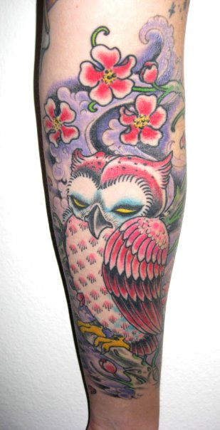 Blossoms And Yellow Eyed Owl Tattoos