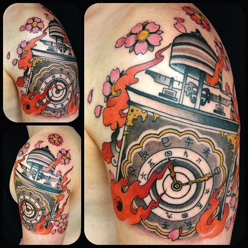 Blossoms Clock And Flame Tattoos On Shoulder