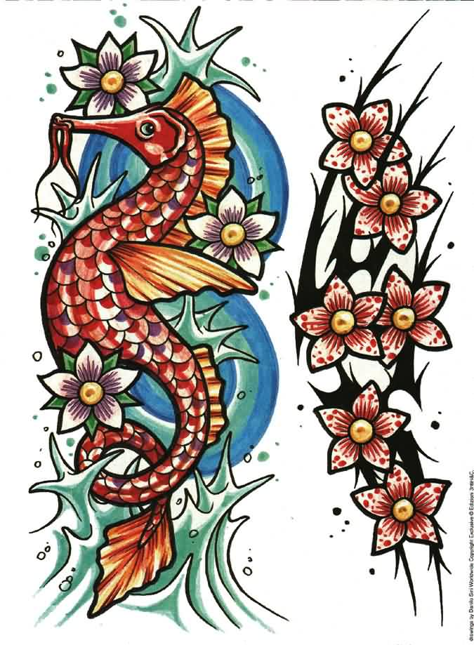 Blossoms Seahorse And Tribal Tattoo Designs