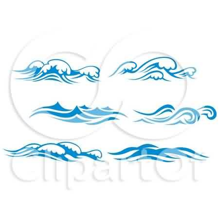 Blue And White Ocean Surf Waves Tattoo Design