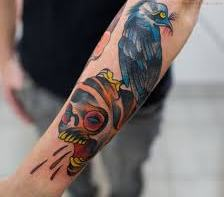 Blue-Black Crow On Color Head Tattoo