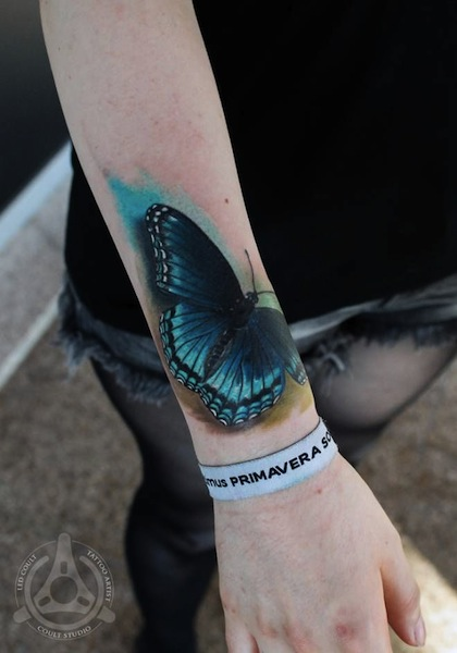 Blue Butterfly 3D Tattoo On Right Wrist
