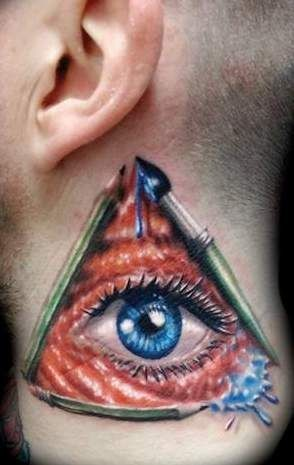 Blue Eye In Triangle Tattoo On Neck