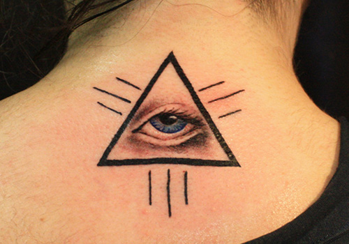 Blue Eye Ink Triangle Tattoo For Women
