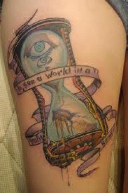 Blue Eye Sandclock Tattoo