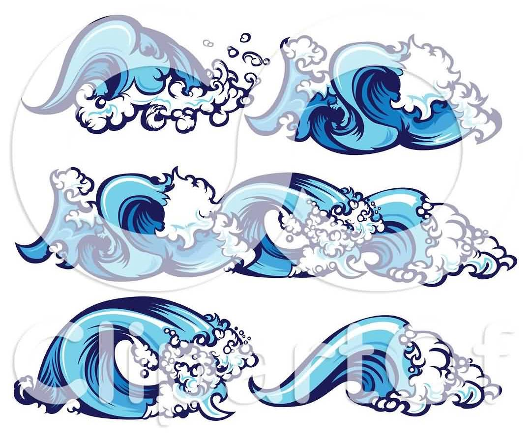 Blue Ocean Wave Tattoo Designs