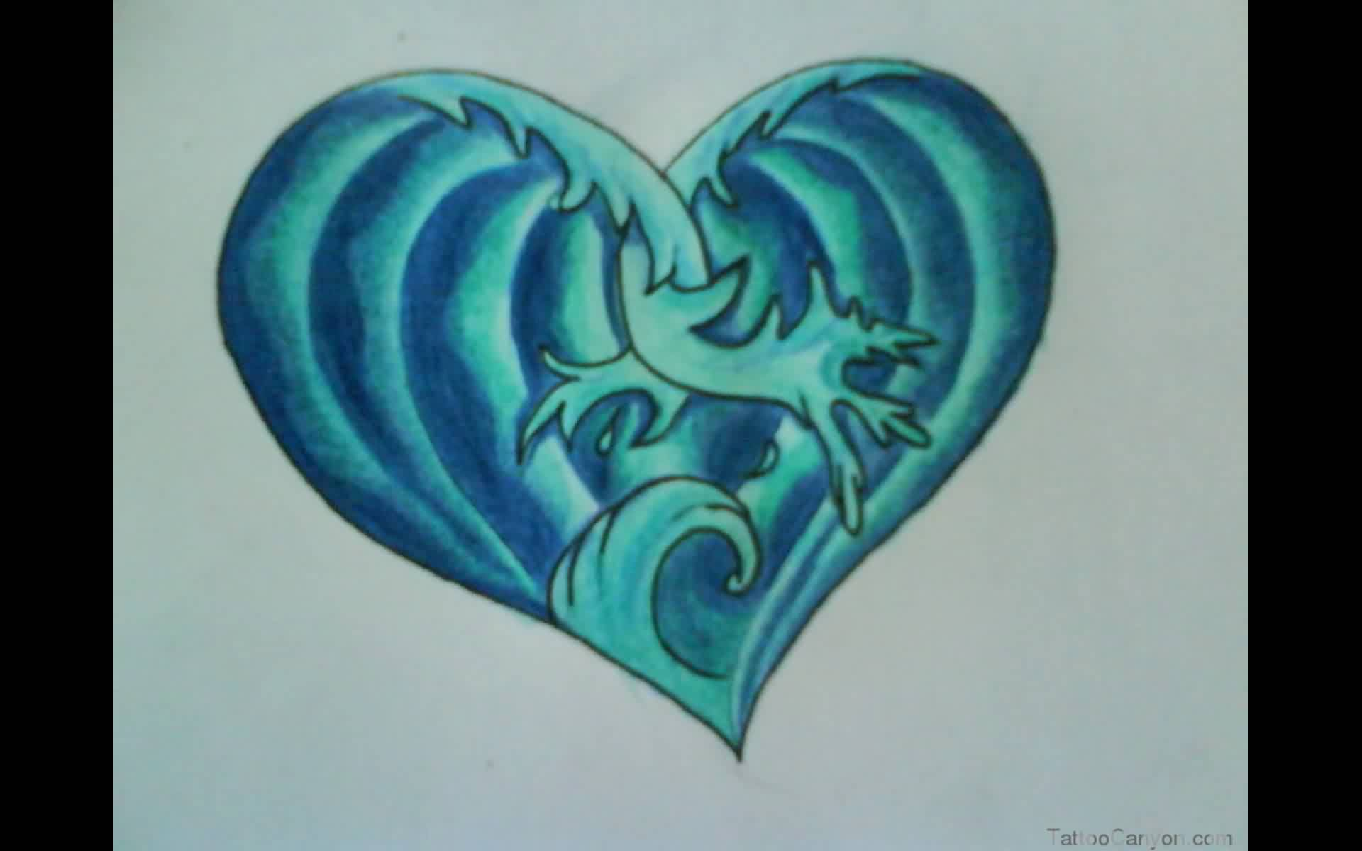 Blue Ocean Waves Heart Tattoo Design