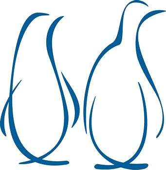 Blue Outline Penguins Tattoo Designs