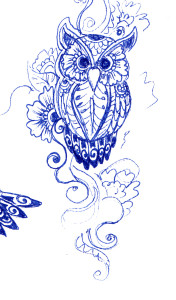 Blue Owl Tattoo Sketch