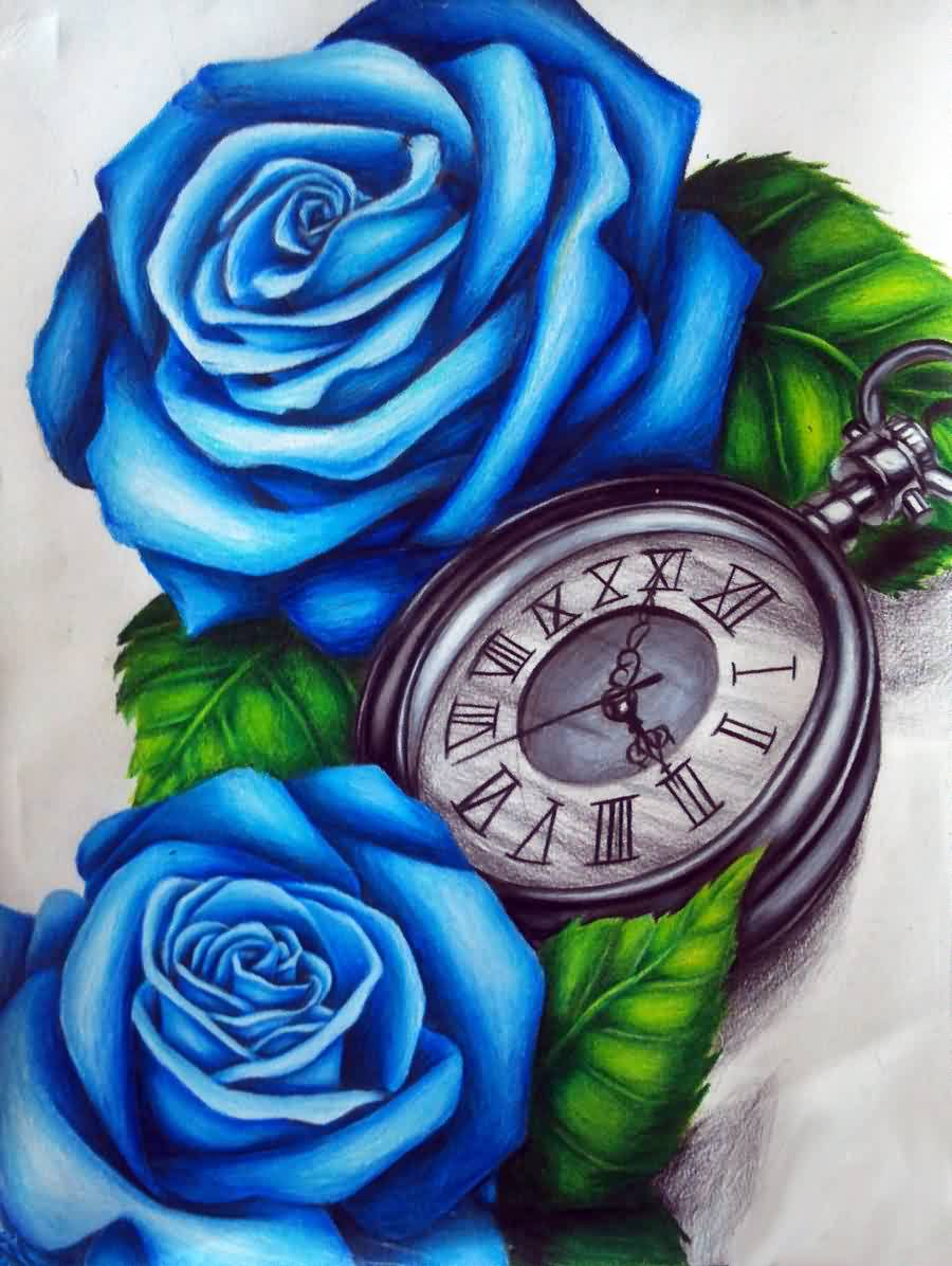 Blue Roses And Clock Tattoo Design