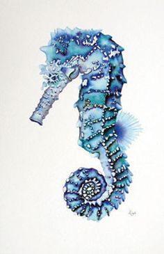 Blue Seahorse Tattoo Flash