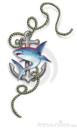 Blue Shark And Rope Anchor Tattoo Design