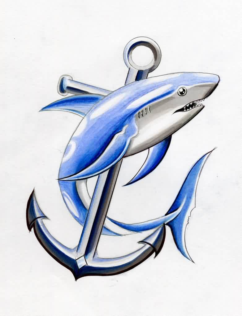 Blue Shark On Anchor Tattoo Design