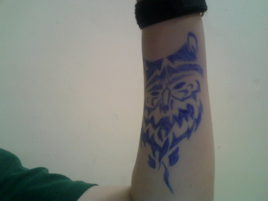 Blue Tribal Owl Tattoo On Arm For Boys