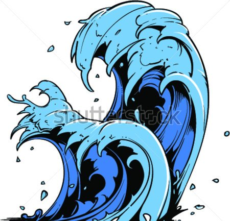 Blue Water Waves Tattoo Designs