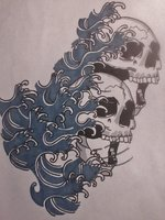 Blue Water Waves With Skull Tattoo Design