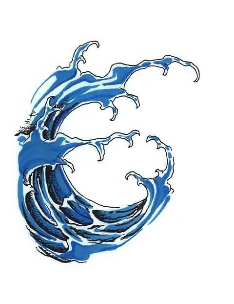 Blue Wave Tattoo Model