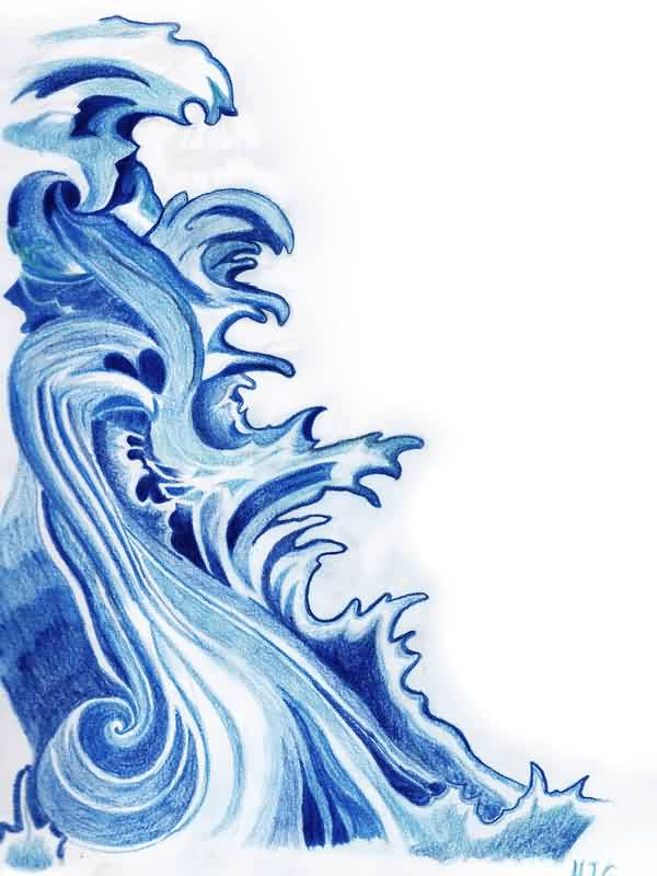 Blue Wave Tattoo Sketch