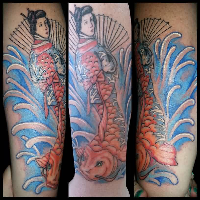 Blue Waves Geisha Sleeve Tattoos
