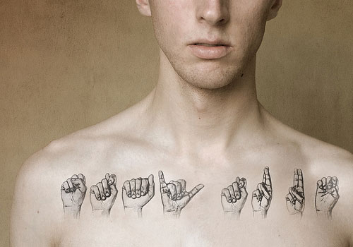 Body Language Collarbone Tattoos