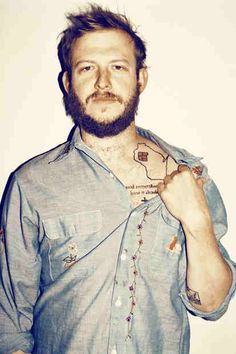 Bon Iver Shows Off His Collarbone Tattoo