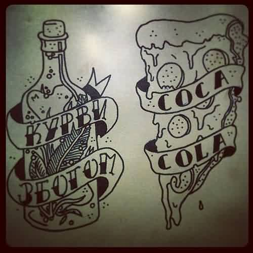 Bottle And Pizza Tattoo Designs
