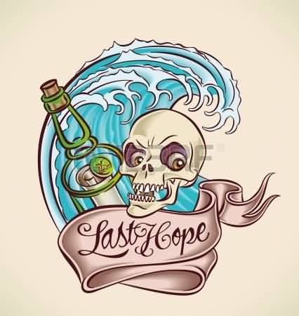 Bottle Skull Banner And Wave Tattoo Design