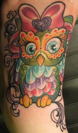 Bow On Owl Head Tattoo
