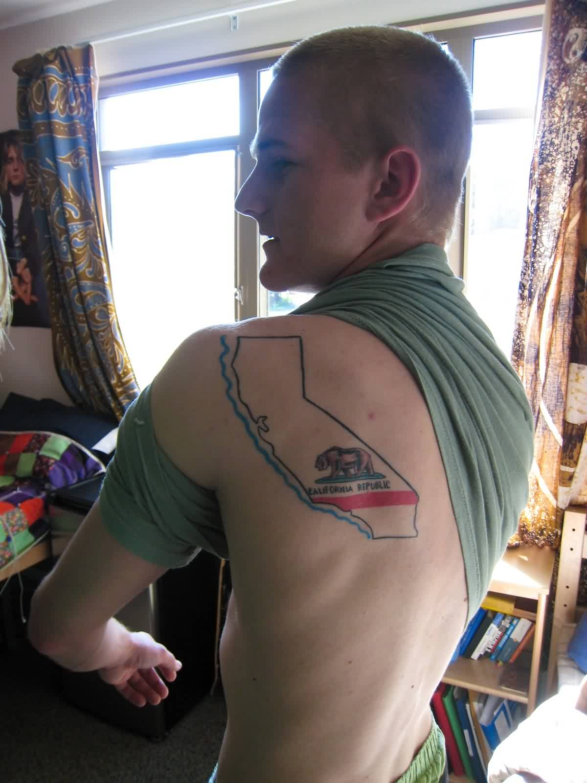 Boy Shows Off His Map Tattoo