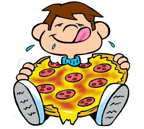 Boy Sitting Eating Huge Pizza With Dripping Cheese Tattoo Design