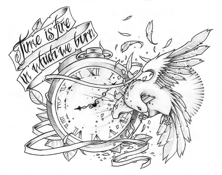 Broken Clock And Bird Tattoo Designs