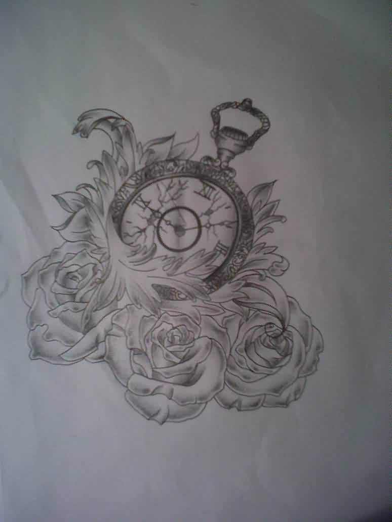 Broken Clock And Roses Tattoo Designs