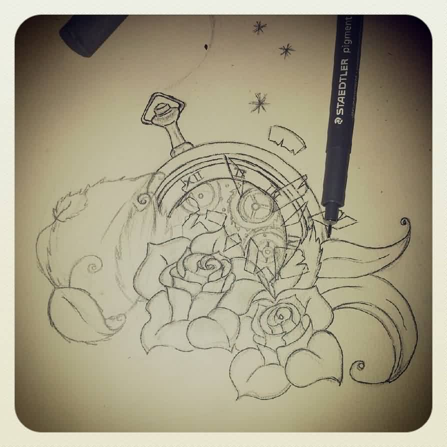 Broken Clock And Roses Tattoos Sketch