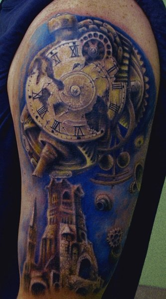 Broken Clock And Tower Tattoos On Half Sleeve