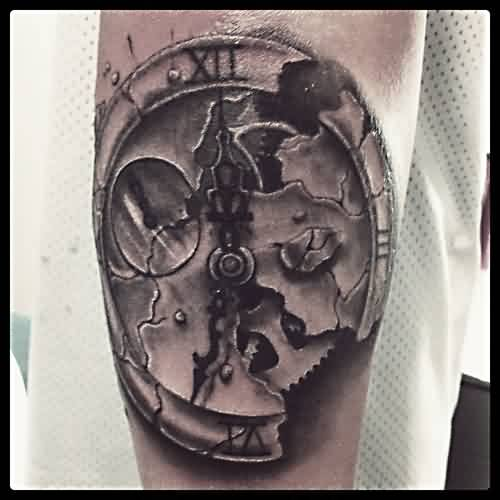 Broken Clock Realistic Tattoo