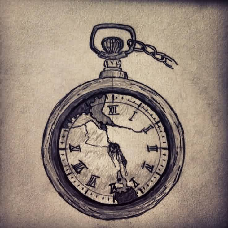 Broken Clock Tattoo Flash