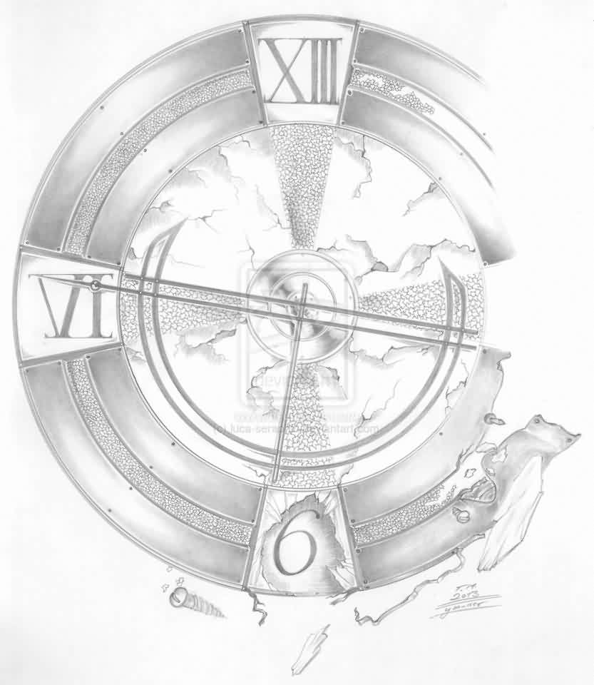 Broken Clock Tattoo Sketch