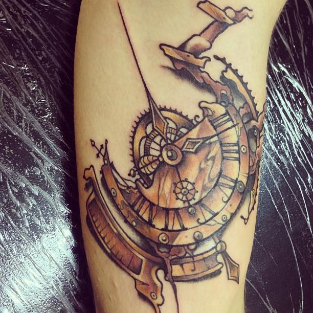 Broken Gears Clock Tattoo