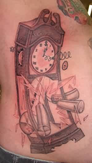Broken Grandfather Clock Tattoo On Side