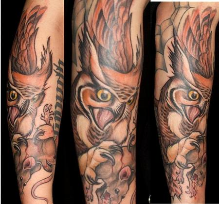Brown Owl And Rat Tattoos On Sleeve