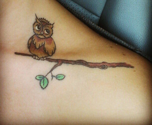 Brown Owl On Branch Tattoo On Left Collarbone