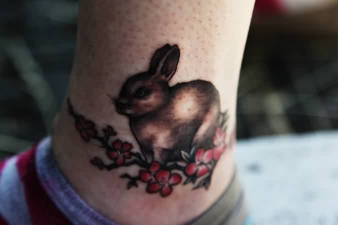 Brown Rabbit And Blossoms Tattoos