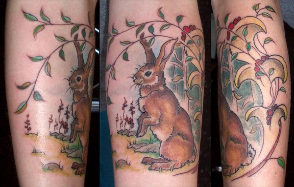 Brown Rabbit In Forest Tattoo