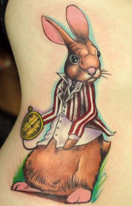 Brown Rabbit In Suit Tattoo On Side