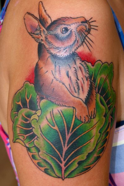 Brown Rabbit On Green Leaves Tattoos On Shoulder