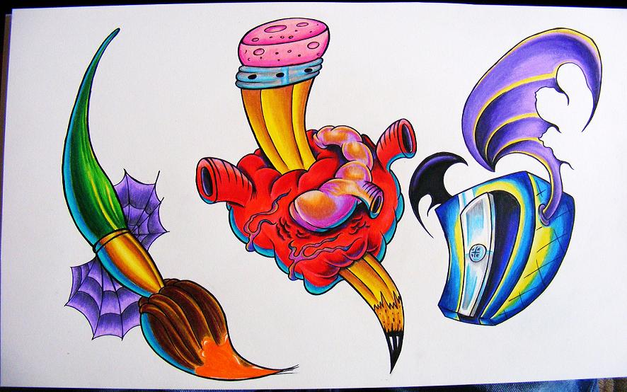 Brush And Pencil Heart Tattoos Flash